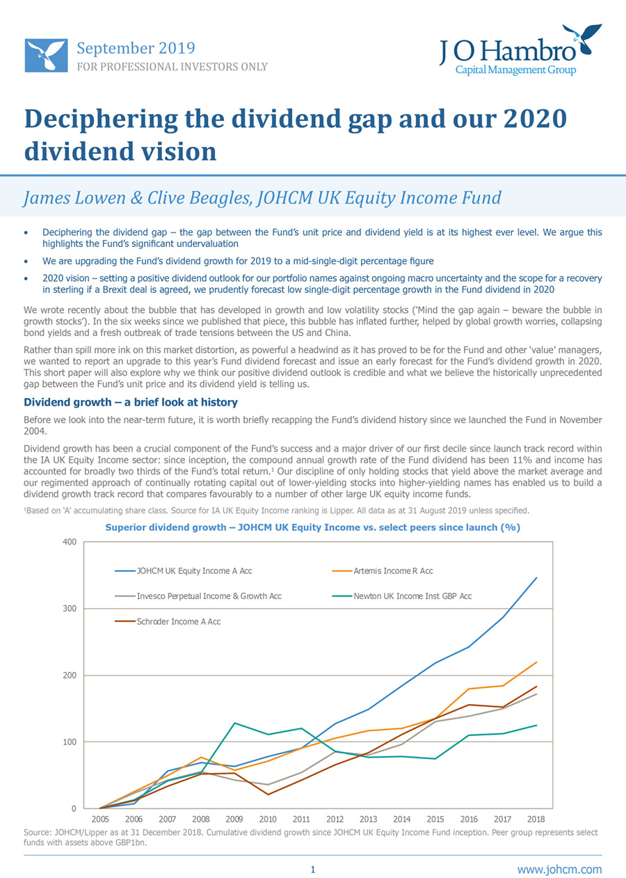 Deciphering the dividend gap and our 2020 dividend vision - JOHCM UK Equity Income Fund